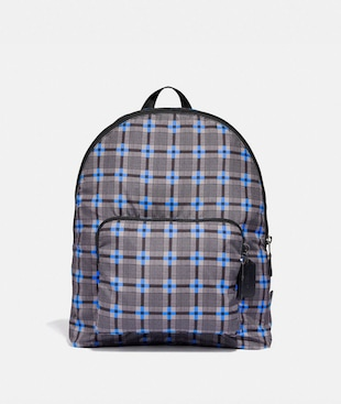 PACKABLE BACKPACK WITH PLUS PLAID PRINT