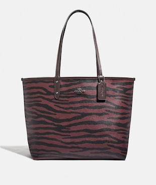 REVERSIBLE CITY TOTE WITH TIGER PRINT