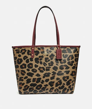 REVERSIBLE CITY TOTE WITH LEOPARD PRINT