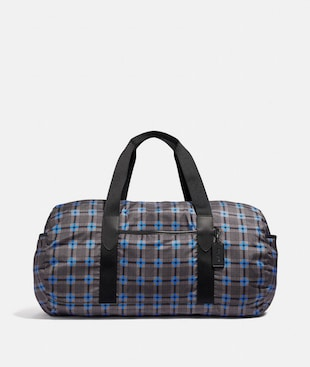 PACKABLE DUFFLE WITH PLUS PLAID PRINT