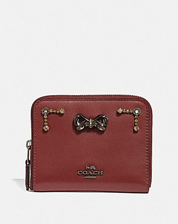 SELENA SMALL ZIP AROUND WALLET WITH CRYSTAL EMBELLISHMENT