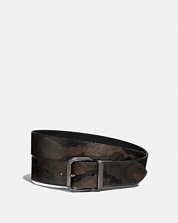 DAPPED COACH ROLLER CUT-TO-SIZE REVERSIBLE BELT IN SIGNATURE CANVAS WITH HALFTONE CAMO PRINT