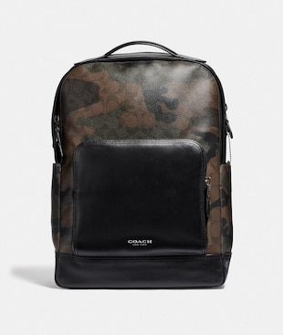 GRAHAM BACKPACK IN SIGNATURE CANVAS WITH CAMO PRINT