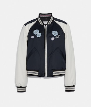 FLORAL EMBROIDERED CROPPED BASEBALL JACKET