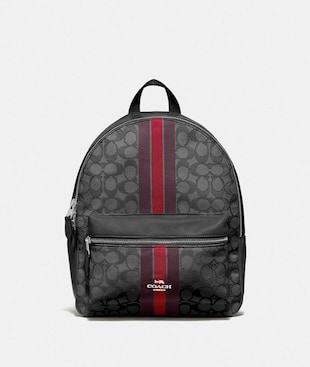 MEDIUM CHARLIE BACKPACK IN SIGNATURE JACQUARD WITH STRIPE