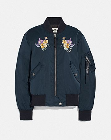 MA-1 JACKET WITH FLORAL EMBROIDERY