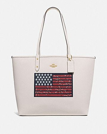 REVERSIBLE CITY TOTE WITH AMERICANA FLAG MOTIF