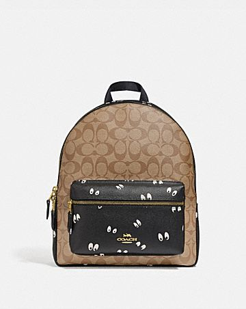 DISNEY X COACH MEDIUM CHARLIE BACKPACK IN SIGNATURE CANVAS WITH SNOW WHITE AND THE SEVEN DWARFS EYES PRINT