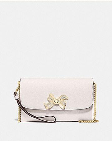 CHAIN CROSSBODY WITH BOW TURNLOCK