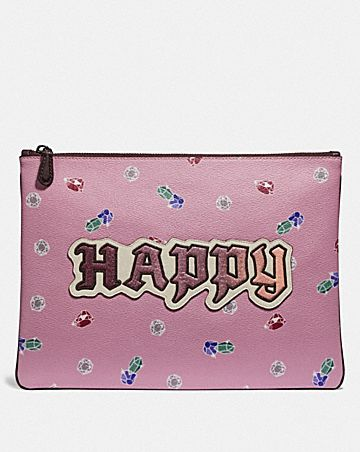 DISNEY X COACH LARGE WRISTLET 30 WITH HAPPY