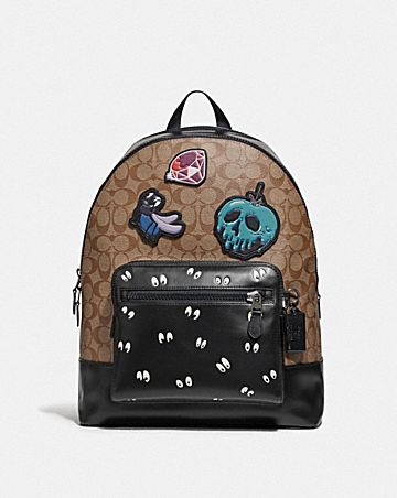 DISNEY X COACH WEST BACKPACK IN SIGNATURE CANVAS WITH SNOW WHITE AND THE SEVEN DWARFS PATCHES