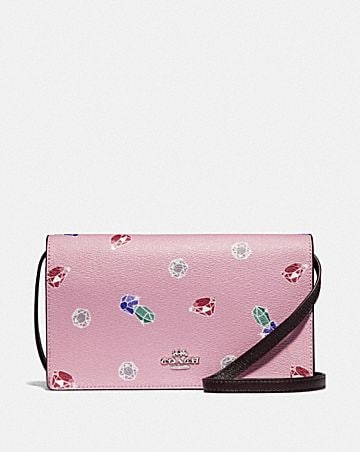 DISNEY X COACH HAYDEN FOLDOVER CROSSBODY CLUTCH WITH SNOW WHITE AND THE SEVEN DWARFS GEMS PRINT