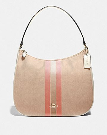 ZIP SHOULDER BAG IN SIGNATURE JACQUARD WITH VARSITY STRIPE