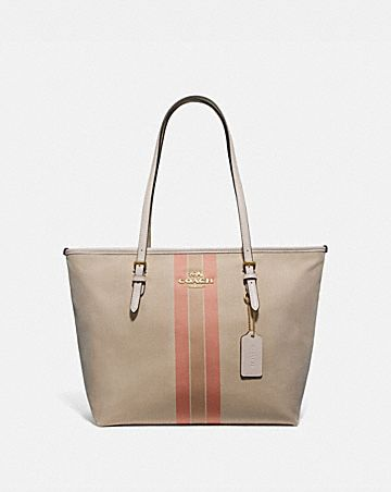 ZIP TOP TOTE IN SIGNATURE JACQUARD WITH VARSITY STRIPE