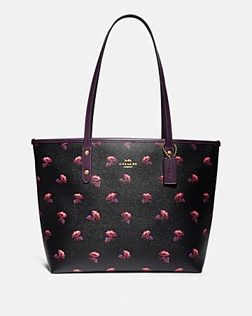 CITY ZIP TOTE WITH BELL FLOWER PRINT