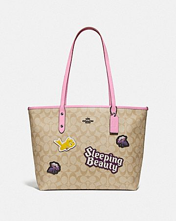 DISNEY X COACH CITY ZIP TOTE IN SIGNATURE CANVAS WITH SLEEPING BEAUTY