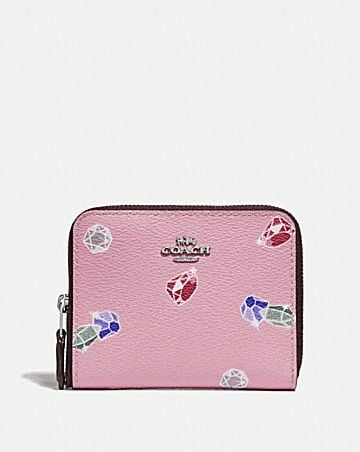 DISNEY X COACH SMALL ZIP AROUND WALLET WITH SNOW WHITE AND THE SEVEN DWARFS GEMS PRINT