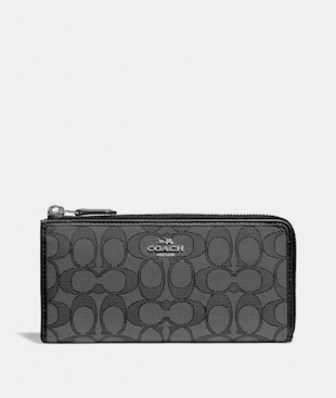 L-ZIP WALLET IN SIGNATURE JACQUARD