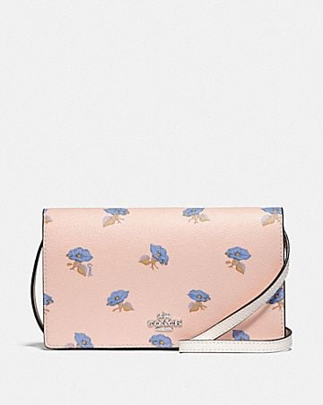 HAYDEN FOLDOVER CROSSBODY CLUTCH WITH BELL FLOWER PRINT