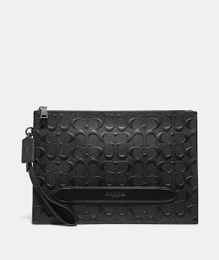STRUCTURED POUCH IN SIGNATURE LEATHER