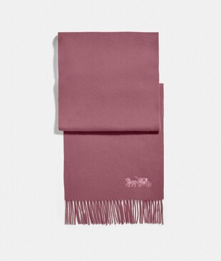 EMBROIDERED HORSE AND CARRIAGE CASHMERE MUFFLER