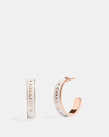 COACH PLAQUE HOOP EARRINGS