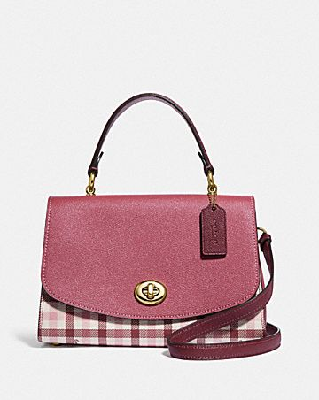 TILLY TOP HANDLE SATCHEL WITH GINGHAM PRINT