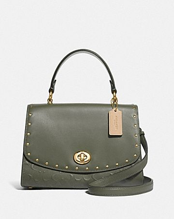 TILLY TOP HANDLE SATCHEL IN SIGNATURE LEATHER WITH RIVETS