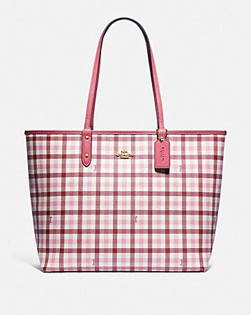 REVERSIBLE CITY TOTE WITH GINGHAM PRINT