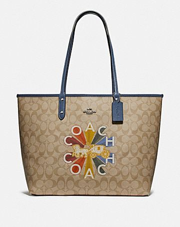 REVERSIBLE CITY TOTE IN SIGNATURE CANVAS WITH COACH RADIAL RAINBOW