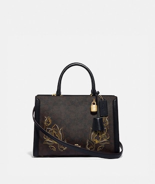 ZOE CARRYALL IN SIGNATURE CANVAS WITH TULIP PRINT EMBROIDERY