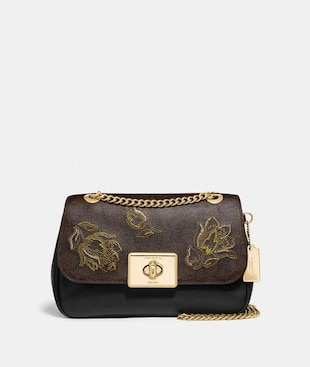 CASSIDY CROSSBODY IN SIGNATURE CANVAS WITH TULIP PRINT EMBROIDERY