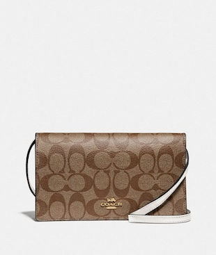 HAYDEN FOLDOVER CROSSBODY CLUTCH IN SIGNATURE CANVAS