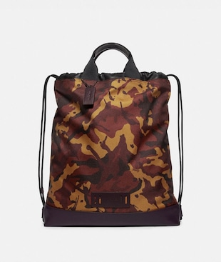 TERRAIN DRAWSTRING BACKPACK WITH CAMO PRINT