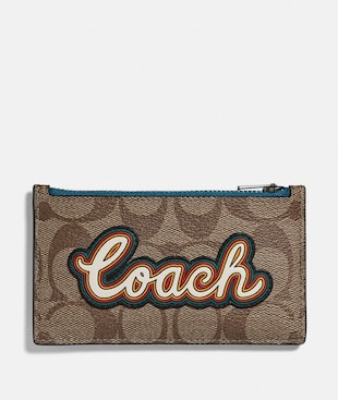 ZIP CARD CASE IN SIGNATURE CANVAS WITH COACH SCRIPT