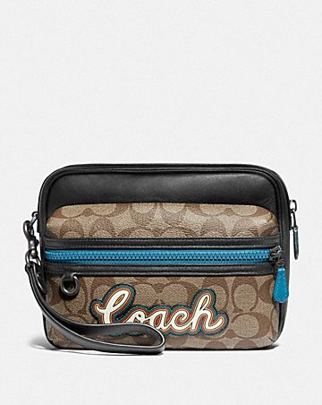TERRAIN POUCH IN SIGNATURE CANVAS WITH COACH SCRIPT