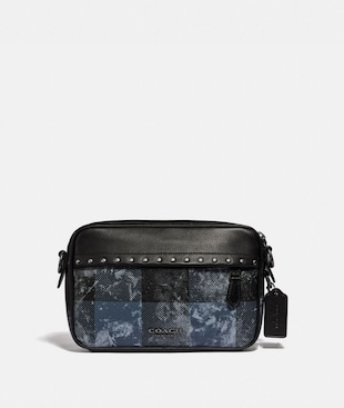 GRAHAM CROSSBODY WITH GRUNGE PLAID PRINT AND STUDS