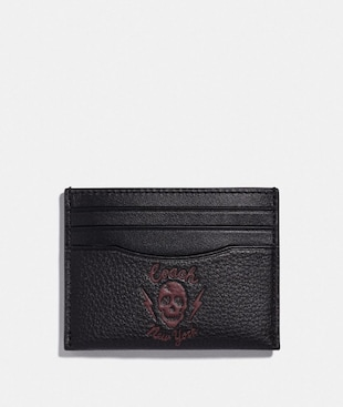 SLIM CARD CASE WITH SKULL MOTIF