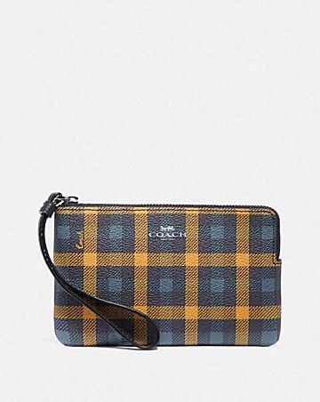 CORNER ZIP WRISTLET WITH GINGHAM PRINT