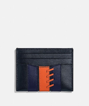 SLIM CARD CASE WITH BASEBALL STITCH