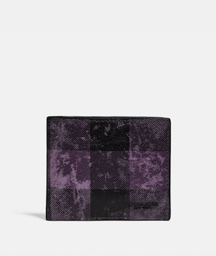 ID BILLFOLD WALLET WITH GRUNGE BUFFALO PLAID PRINT