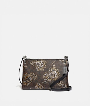MIA CROSSBODY IN SIGNATURE CANVAS WITH TULIP PRINT