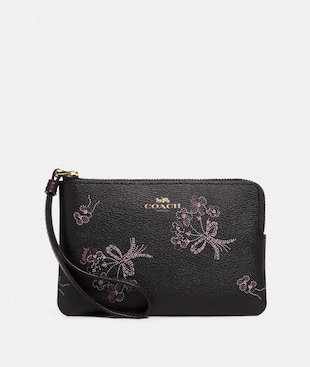 CORNER ZIP WRISTLET WITH RIBBON BOUQUET PRINT