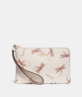 CORNER ZIP WRISTLET WITH DRAGONFLY PRINT
