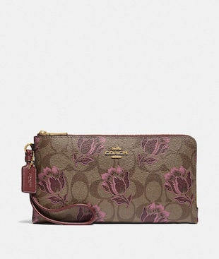 DOUBLE ZIP WALLET IN SIGNATURE CANVAS WITH DESERT TULIP PRINT