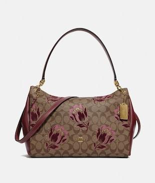 MIA SHOULDER BAG IN SIGNATURE CANVAS WITH DESERT TULIP PRINT FLOCKING