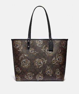 REVERSIBLE CITY TOTE IN SIGNATURE CANVAS WITH TULIP PRINT