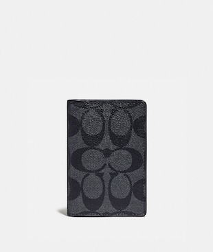 CARD WALLET IN COLORBLOCK SIGNATURE CANVAS