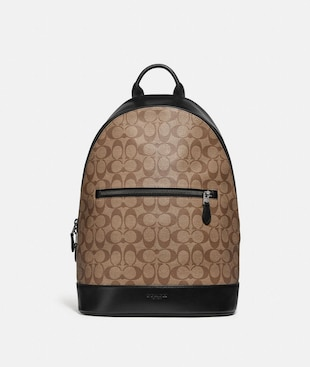 WEST SLIM BACKPACK IN SIGNATURE CANVAS