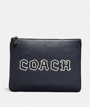 LARGE POUCH WITH COACH SCRIPT
